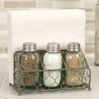 Chicken Wire Salt Pepper and Napkin Caddy - Barn Roof Finish - *FREE SHIPPING*