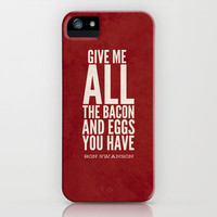 Bacon and Eggs - Ron Swanson - Parks and Recreation iPhone & iPod Case by Sandra Amstutz