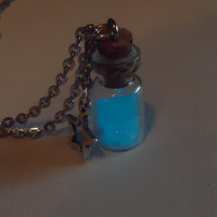 GLOW in the DARK VIAL - aquamarine blue - glass bottle jewelry
