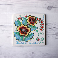 Vintage Swedish Folk Decorative Trivet Tile | The table is now set | The Berggren-Shelton-Trayner Corp. | Whimsical Colorful Painting