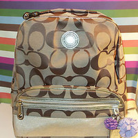 New with Tag COACH Signature Stripe Backpack Khaki/Gold/Silver Style# 19451