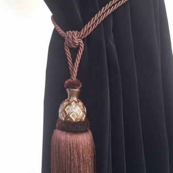 Brown Curtain Drapery Decorative Wood/Tassel Double Rope Tie Back Hand Crafted Home Decor/Window Treatments Drape Holding/Holdback/Pull Back