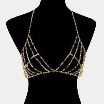 "32"" gold layered collar necklace bra body chain bikini swimsuit bathing suit"
