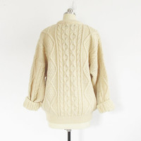 vintage wool fisherman sweater, cream cable knit crewneck, aran pullover, made in scotland - womens m / l