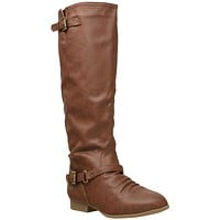 Womens Knee High Boots Buckle Strap Accents Riding Shoes Tan