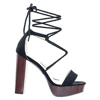 Klossy04 by Wild Diva Rope Braided Leg Wrap Laces On Open Toe Wooden Block Heel Platform