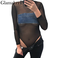 Glamaker Transparent black mesh bodysuit women tops summer jumpsuit romper Fitness hollow out party club bodysuits long sleeve
