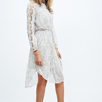 Free People Georgette Long Sleeve Midi Dress in Ivory - Urban Outfitters