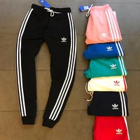 Tagre™ Adidas Casual Stripe Drawstring Man Women Sport Running Long Pants Sweatpants Trousers Six Color H-XYCL01