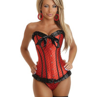 Strapless Polka Dot Corset W-front Busk Closure & Lace-up Back, Thong Included Blk-red 2x