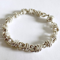 Vintage Milor Italy Sterling Silver Unique Chain Bracelet with Magnetic Clasp, Byzantine  - 8 Inches - 25 grams