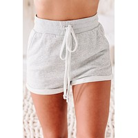 Leisel French Terry Lounge Shorts (Heather Gray)