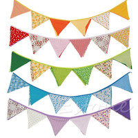 New Colorful Fabric Flags Banners Wedding Decor Bunting Party Garland Decoration