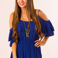Royal Palms Romper in Blue