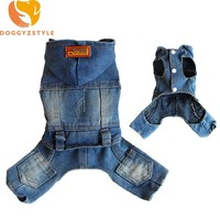 Denim Jumpsuit Pet Clothes For Fog Small Dog Hoodies Jean Jacket Four Legs Puppy Cat Coat Apparel XS-2XL Supply DOGGYZSTYLE