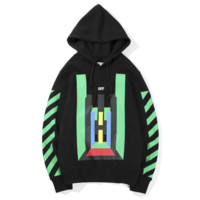 Off White Autumn and winter new fashion stripe print hooded couple long sleeve top sweater Black