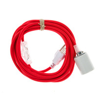 Pendant Light Cord with Porcelain Socket - Red