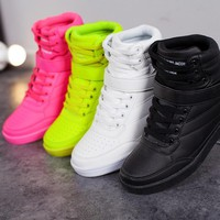 Lzzf High Quality 2018 New Women Shoes Breathable Black High-top Lace-up Added White Sneakers Shoes for Woman Basket Femme