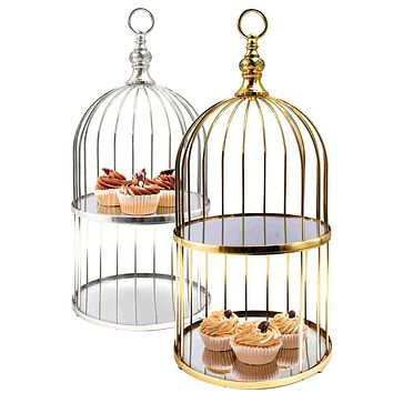 2 Tier Birdcage Cake Stand Serving Tray