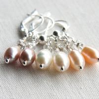 Genuine Pearl Earrings, Sterling Silver, Wedding Earrings, Bridesmaids Gift, Choose Color and Style, Mauve White Peach
