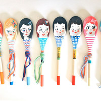 Personalised decorative wooden spoon hand painted home decor display