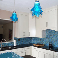 Turquoise Pendant Light in Tahitian Waters by UneekGlassFusions