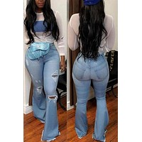 High Waist Denim Bell Bottom Ripped Jeans