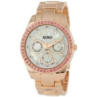 XOXO Women's XO5298A Rhinestone Accent Rose Gold Bracelet Watch - designer shoes, handbags, jewelry, watches, and fashion accessories | endless.com