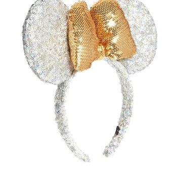 Disney Minnie Mouse Exclusive For ASOS Metallic Sequin Silver Ears & B