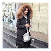 Winter Woman Fur Collar Thick Casual Middle Long Down Coat   black   S