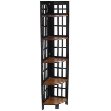 Fretted Folding - Tall Corner Shelf