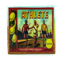 Athlete Lemons Brand - Vintage Citrus Crate Label - Handmade Recycled Tile Coaster
