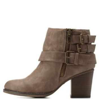 Brown Madden Girl Belt-Wrapped Booties