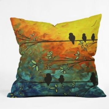 DENY Designs Madart Birds Of A Feather Throw Pillow, 16-Inch by 16-Inch