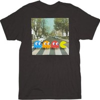 Pac-man Crossing Beatles Abbey Road Black Adult T-shirt Tee