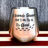 Stainless Steel Wine Glass with Harry Potter Design, Hand Etched