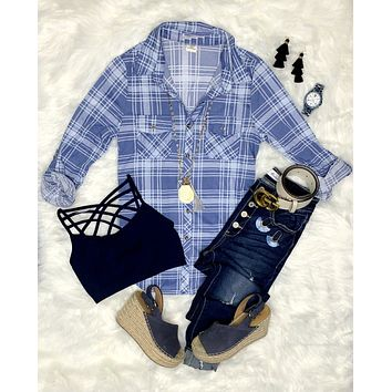 Penny Plaid Flannel Top - Denim Blue