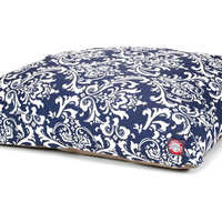 French Quarter Rectangle Pet Bed, Navy/White, Pet Beds