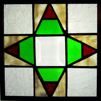 Compass Handmade Stained Glass Quilt Square