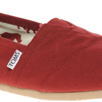Toms Red Classic Canvas Flat Shoes