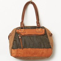 Old Trend Womens Mixed Media Tote - Camel / Grey, One