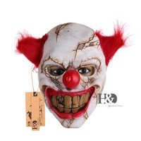Scary Clown Latex Mask Big Mouth Red Hair Cosplay Full Face Horror