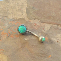 Light Green Fire Opal Belly Button Jewelry Ring