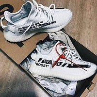 ADIDAS x Off White Yeezy Boost 350 V2 Popular Woman Men Casual Sport Sneakers Shoes 3#