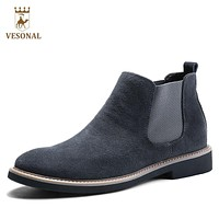 VESONAL 2017 Autumn Fashion Casual For Men Ankle Chelsea Boots Male Shoes Cow Suede Leather Quality Slip Ons Motorcycle Man Boot