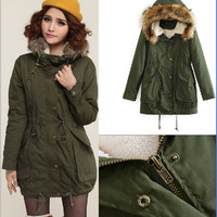 Hooded detachable army green coat