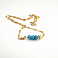 Genuine turquoise necklace, gemstone necklace, December birthstone, turquoise bar necklace, delicate necklace, simple turquoise jewelry