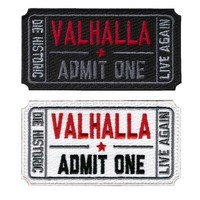 valhalla admit one moive ticket patches Military embroidered Hook patches Morale armband tactical army for vest jacket