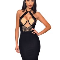 Blair Lace Detail Bustier High Neck Tie Stretch Crepe Dress