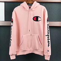 Champion New fashion embroidery  bust side logo hooded long sleeve sweater top Pink